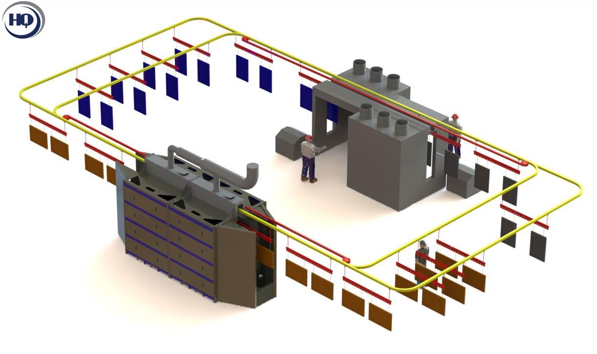 Mô hình hệ thống sơn tĩnh điện